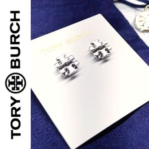 NWT Authentic Tory Burch Silver Logo Studs